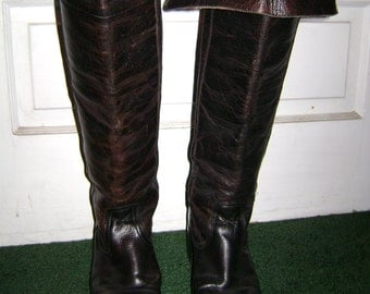Frye Thigh-High Full Grain Leather Boots: Over the Knee or Cuffed. 1970s. Musketeer Renaissance  Pirate Boots. Sz 9 US. FREE USA Shipping