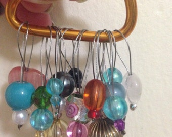Mystery pack!!! 5 stitch markers of various shapes sizes and beads and awesomeness