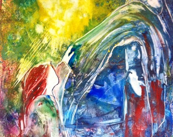 """Colorful Contemporary Prophetic Print """"Touching His Garment"""