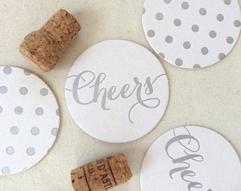 Letterpress Coasters, Cheers and Polka dots, Silver, Calligraphy font, Hostess Gift, Wedding Decor, Bridesmaid Gift, Party, Ready to Ship