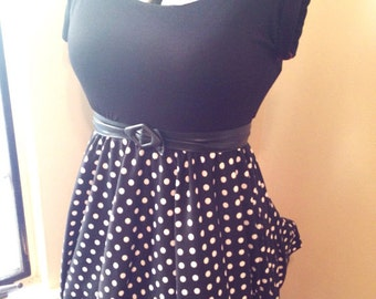 Polka dot pinup dress custom made to fit your size