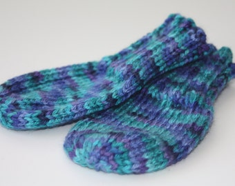 Baby Mittens Blue Aqua Purple Stripe for 18 Months to 24 Months - Blue Thumbless Mittens - Purple Scratch Mitten - Knit Mitts - Oceana 18-24