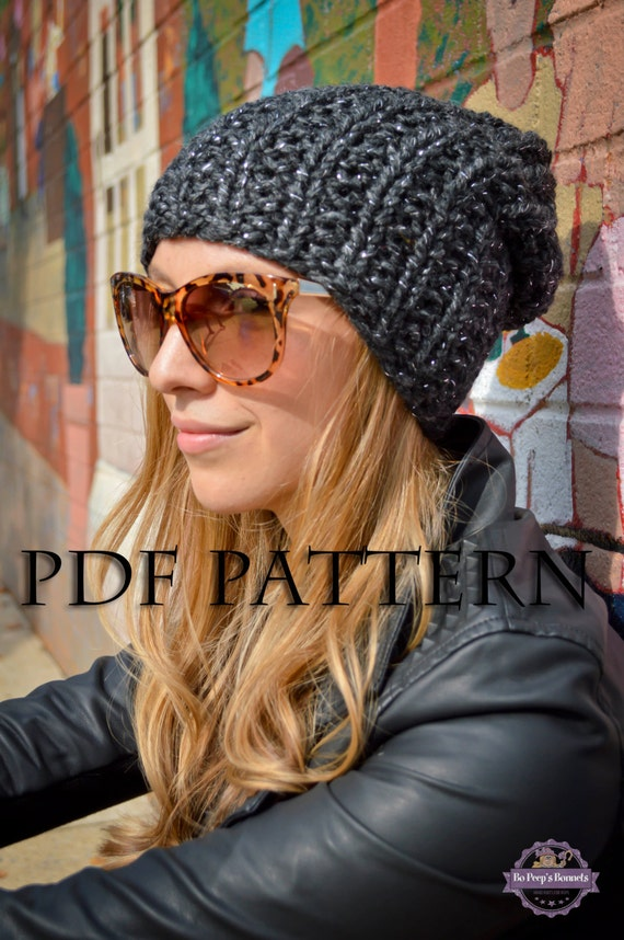 DIY KNITTING PATTERN Slouchy Beanie Pattern Knit Slouch ...