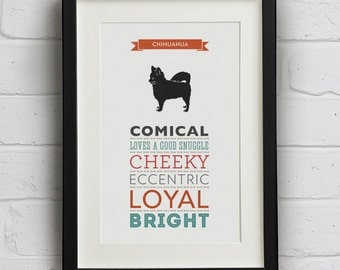 Chihuahua Dog Breed Traits Print - Lovely Gift for Chihuahua lovers