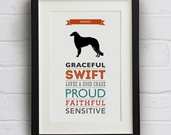 Borzoi Dog Breed Traits Print