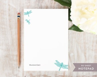 Personalized Notepad - DRAGONFLY - Stationery / Stationary Notepad