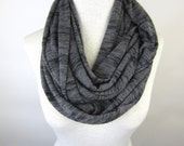 Grey Infinity Scarf - Soft Grey Sweater Scarf - Grey Striped Scarf