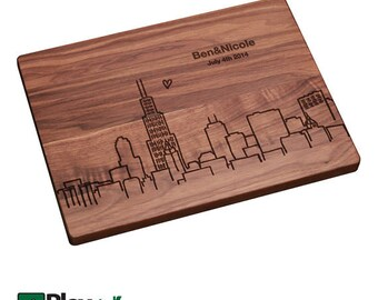 Chicago Skyline Personalized Engraved Cutting Board, Personalized Wedding Gift,Bamboo,Custom Cutting Board,Wedding Gift