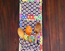 Vintage Country French Wall-Pocket Cotton Spoon Holder Multicolor Calico Quilted  Cotton Print Provencale Souleiado Olivado Kitchen style