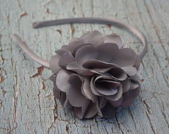 Grey Satin Mesh Flower Headband, Silver Flower Headband, Vintage Flower, Toddler Girl Adult Hair Bow, Hair Accessories, Photo Prop
