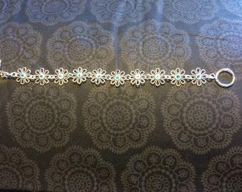 Pewter Flower Charm Bracelet with Blue Swarovski Crystal