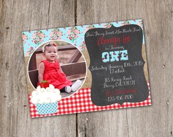 Strawberry and Roses Shabby Chic Cupcake Birthday Invitation