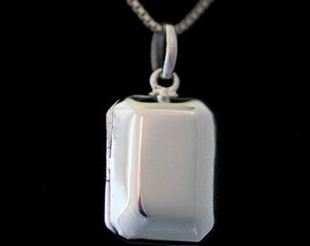 Sterling Silver Custom Photo Petite Rectangle Locket Necklace