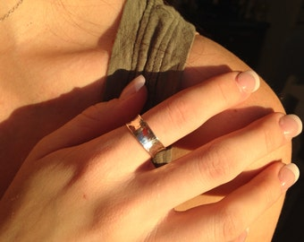 Sterling Silver Band Ring- 7.5mm Hammered, Anticlastic  - Valentine
