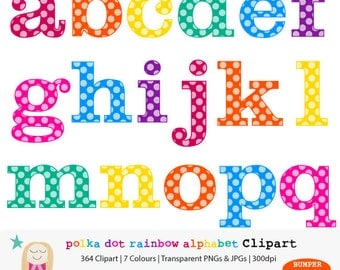 SALE Rainbow Alphabet Clipart, BUMPER PACK, Polka Dot Letter Clipart, Polka Dot Clipart, Rainbow Letter, Alphabet Digital, CommUse