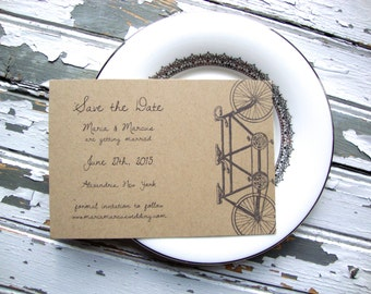 Tandem Bike Save the Date Postcard, Eco Friendly, Tandem Bicycle Save the Date, Rustic Wedding Save the Date, Tandem Bike Wedding