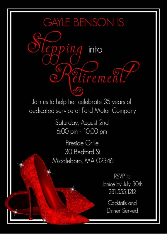 Red Glitter Shoes Retirement Invitation By AnnounceItFavors