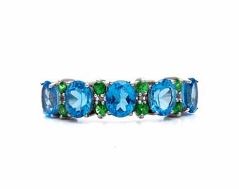 Blue Topaz and Tsavorite Garnet Ring in White Gold