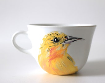 Hand Painted Teacup - Yellow Bird - Original Painting