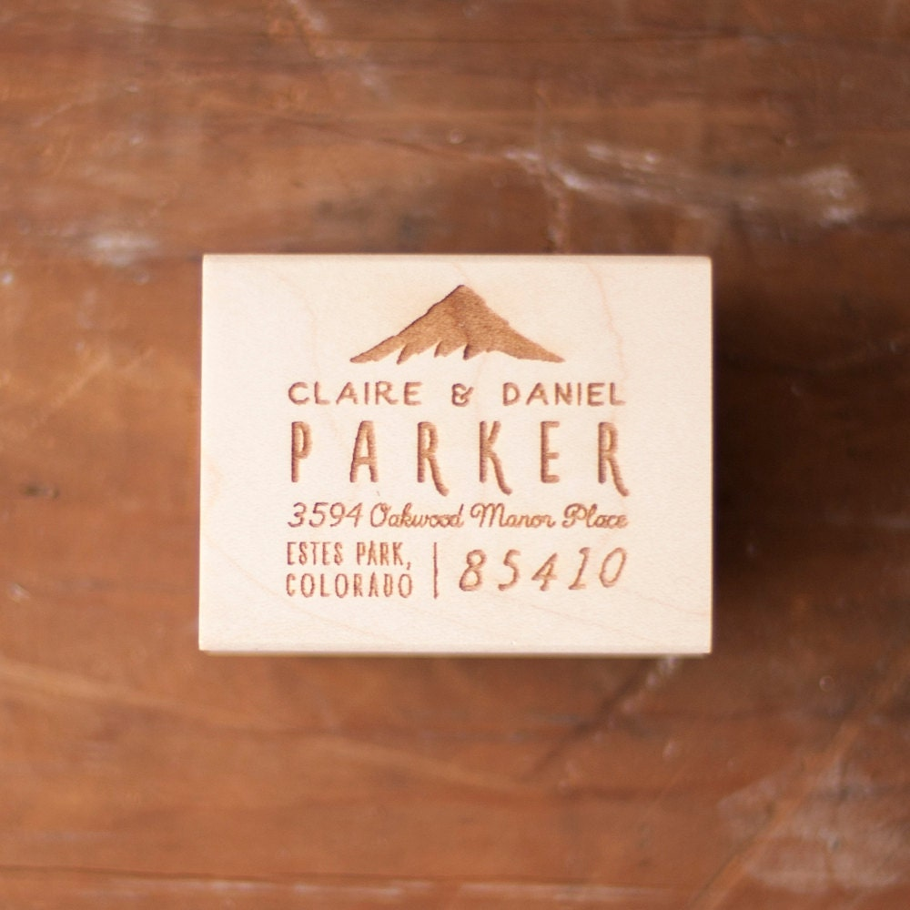 Mountain Address Stamp, Address Rubber Stamp, Custom return ...