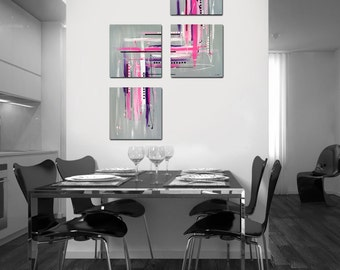 "Original abstract painting. 4 piece canvas art. 40x26"" Large painting. Contemporary. Girly modern wall art. Pink painting."