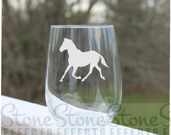 horse wine glass, etched Stemless Wine Glasses, wine glass,  Engraved Wine Glasses, stemless wine glass etched, Wine Glass Etched