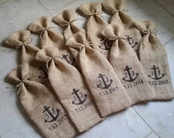 Custom Burlap Wine Tote - your choice of ribbon or twine bow