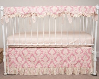 Bumperless Vintage Floral  Rose Pink and Ivory Juliet Collection Baby Girl Crib / Cot Bedding with Crib Rail Guard / Rail Cover