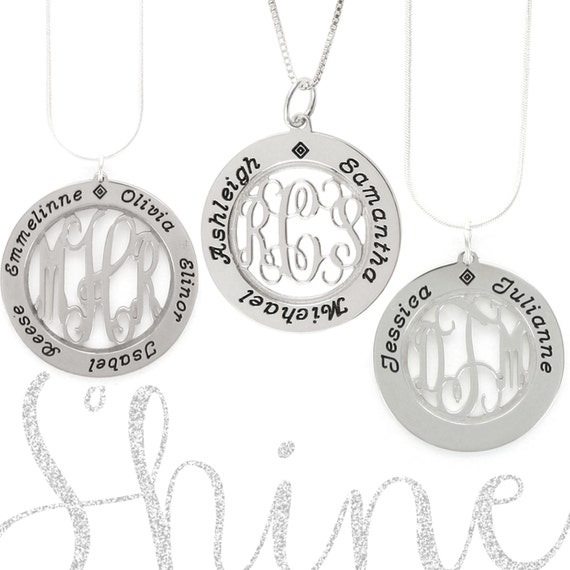 Mommy Monogram Filigree Necklace - Monogram Jewelry