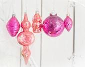 Set of 5 pink glass vintage christmas ornaments. 60s.  Raspberry. Doggy. Flashlight. Cone. Ball. Soviet.
