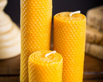 "Beeswax Pillar Candles (3, 5, or 7"")"