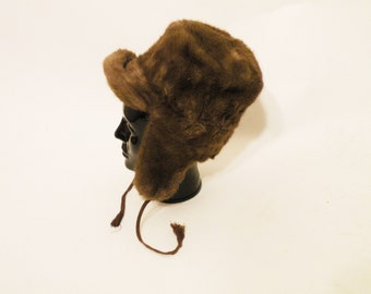 Vintage Brown Ushanka / Faux Fur Hat / russian Ushanka / Russian Trooper Hat / Winter Hat Size XS / 50