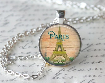 Eifel Tower Paris Pendant Necklace or Eifel Tower Keyring Eifel Tower Jewelry Eifel Tower Necklace Green Eifel Tower