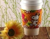 Fabric Coffee Cozy / Snoopy and Woodstock Coffee Cozy / Snoopy Coffee Cozy / Woodstock Coffee Cozy / Peanuts Coffee Cozy / Coffee Cozy
