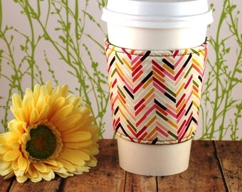Fabric Coffee Cozy / Chevron Tones Coffee Cozy / Chevron Coffee Cozy / Coffee Cozy / Tea Cozy