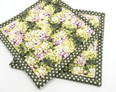 Floral Hot Pads, Quilted Fabric Pot Holders - Purple and Green Hydrangea Flower Potholders Set of Two, Housewarming Gift, Mother's Day