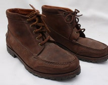 """Rare 90's Vintage """"LANDS' END"""" Brown Leather Ankle Boots Sz: 9 (Men's Exclusive)"""