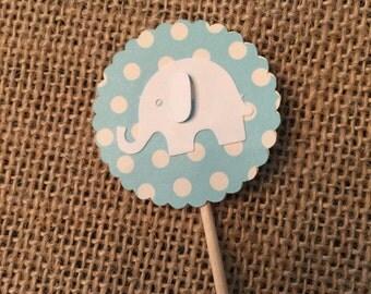 12 - Baby Blue Elephant Cupcake Topper