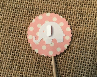 12 - Baby Pink Elephant Cupcake Topper
