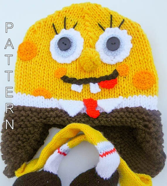 Knitting Pattern Spongebob Hat Character Hat by WistfullyWoolen