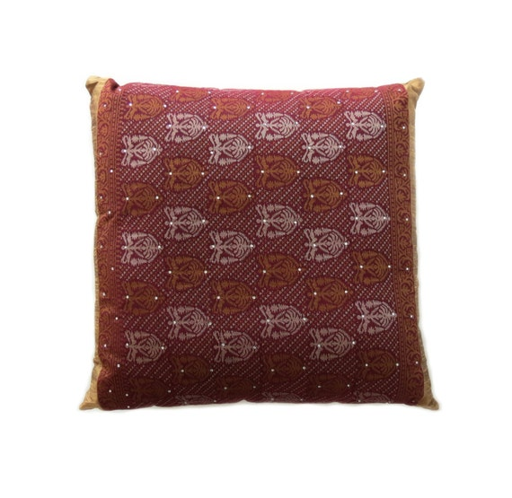 DECORATIVE PILLOW in Gold and Burgundy Red by MARiSOLcrafts