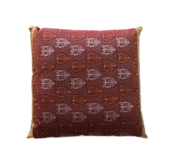 Red And Gold Decorative Pillow : DECORATIVE PILLOW in Gold and Burgundy Red by MARiSOLcrafts