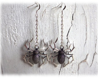 Insegrim - spider earrings silver gothic