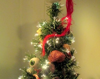 "Zombie Eyeball Tree-Topper Ornament  w/ Optic Nerve , 3"""