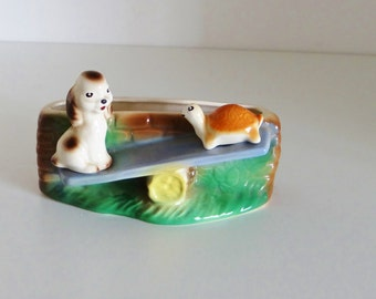 Vintage Vase Planter Hornsea Pottery Playtime Series 1959 Dog and Tortoise Playing on See Saw Rare Item