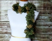 SALE-- Green and Gold Ruffle Scarf