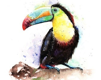 TOUCAN ART PRINT - keel-billed toucan, rainbow toucan, bird art, toucan watercolor bird, bird lover gift, tropical bird painting