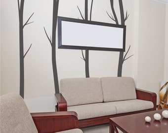 Winter Birch Tree Wall Decals - Living Room Wall Stickers - Home Wall Decal