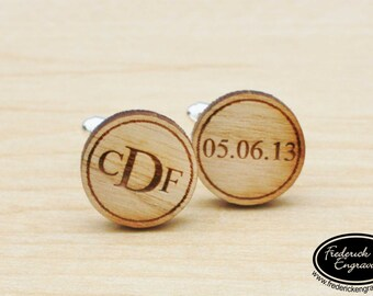 Engraved Monogram Cuff Links - Personalized Wood Cuff Links - Roman Monogram Cuff Links - Engraved Wedding Cufflinks - CF-07