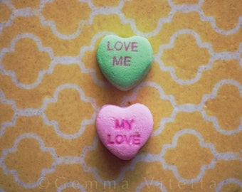 Love Me, My Love - Conversation Heart Photo, Still Life Print, Fine Art Photo, Candy Hearts, Tumblr, Valentines Day Gift, Cute Photo Gifts